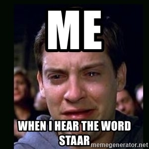 crying peter parker - Me when i hear the word STAAR