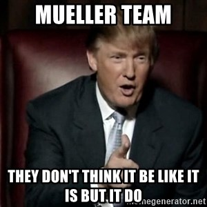 Donald Trump - Mueller team They Don't Think It Be Like It Is But It Do