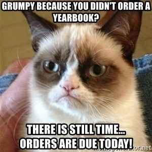 Grumpy Cat  - Grumpy because you didn't order a yearbook? There is still time...               orders are due today!