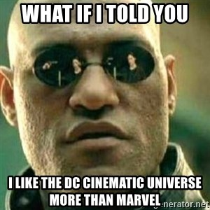 What If I Told You - WHAT if i told you i like the dc cinematic universe more than marvel