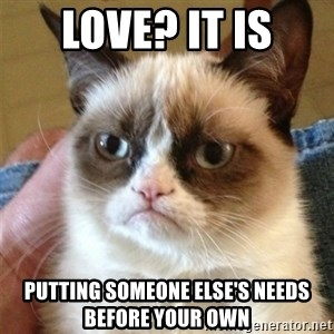Grumpy Cat  - Love? it is Putting someone else's needs before your own