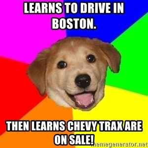 Advice Dog - Learns to drive in Boston.  Then learns Chevy Trax are on sale!