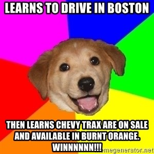 Advice Dog - Learns to drive in Boston Then learns Chevy Trax are on sale and available in burnt orange. WINNNNNN!!!