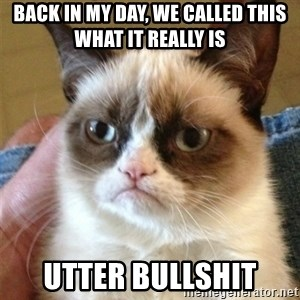 Grumpy Cat  - Back in my day, we called this what it really is utter bullshit