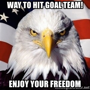 American Pride Eagle - Way to hit goal team! Enjoy your FREEDOM