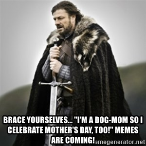 "Brace yourselves. - Brace yourselves... ""I'm a dog-mom so I celebrate Mother's day, too!"" memes are coming!"
