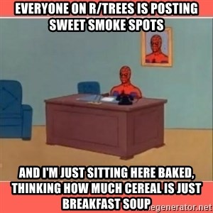 Masturbating Spider-Man - Everyone on r/trees is posting sweet smoke spots and i'm just sitting here baked, thinking how much cereal is just breakfast soup