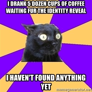 Anxiety Cat - I drank 5 dozen cups of coffee waiting fur the identity reveal I haven't found anything yet