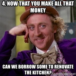 Willy Wonka - 4. Now that you make all that money Can we borrow some to renovate the kitchen?