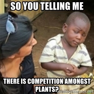 Skeptical african kid  - So you telling me there is competition amongst plants?