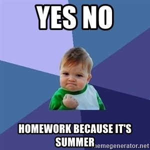 Success Kid - Yes no homework because it's summer