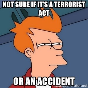Futurama Fry - Not sure if it's a terrorist act Or an accident