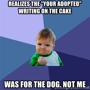 """Success Kid - realizes the """"your adopted"""" writing on the cake  was for the dog. not me"""