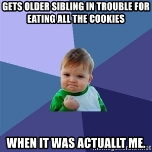 Success Kid - gets older sibling in trouble for eating all the cookies when it was actuallt me.