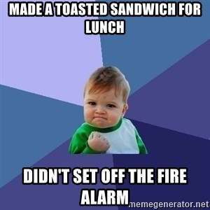 Success Kid - Made a toasted sandwich for lunch Didn't set off the fire alarm