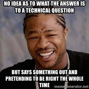 Yo Dawg - NO IDEA AS TO WHAT THE ANSWER IS TO A TECHNICAL QUESTION BUT SAYS SOMETHING OUT AND PRETENDING TO BE RIGHT THE WHOLE TIME