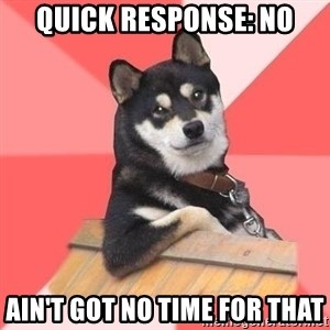 Cool Dog - quick response: no ain't got no time for that