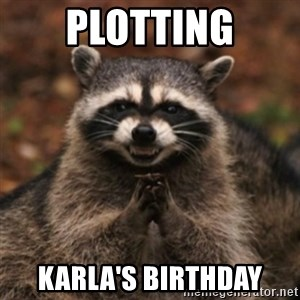 evil raccoon - Plotting Karla's Birthday