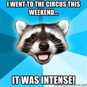 Lame Pun Coon - I went to the circus this weekend... it was intense!