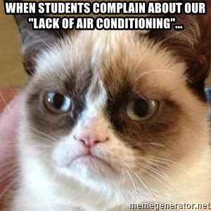 "Angry Cat Meme - When students complain about our ""lack of air conditioning""..."