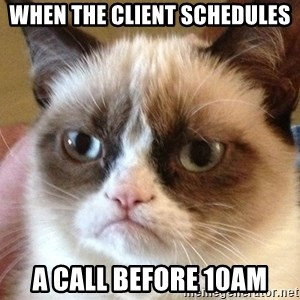 Angry Cat Meme - when the client schedules a call before 10AM