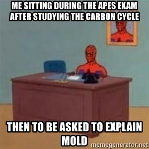 and im just sitting here masterbating - me sitting during the apes exam after studying the carbon cycle  then to be asked to explain mold