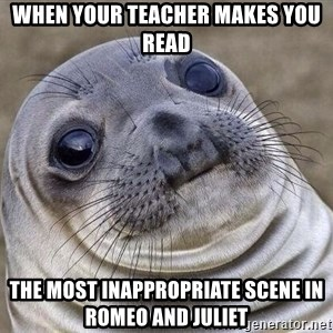 Awkward Seal - When your teacher makes you read The most inappropriate scene in Romeo and juliet