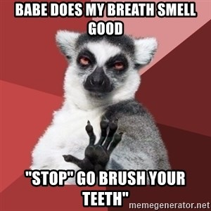 """Chill Out Lemur - babe does my breath smell good """"stop"""" go brush your teeth"""""""