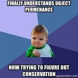 Success Kid - Finally understands object permenance Now trying to figure out conservation