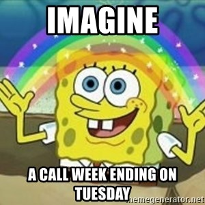 Bob esponja imaginacion - imagine a call week ending on Tuesday