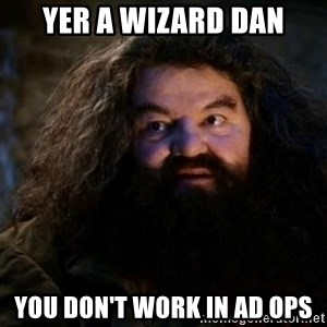 Yer A Wizard Harry Hagrid - Yer a Wizard Dan you don't work in Ad Ops