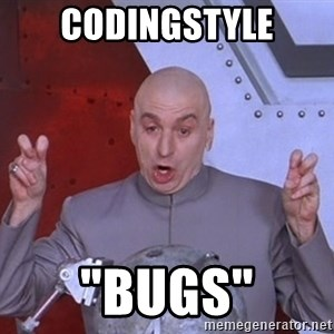 """Dr. Evil Air Quotes - codingstyle """"bugs"""""""