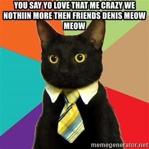 Business Cat - YOU SAY YO LOVE THAT ME CRAZY WE NOTHIIN MORE THEN FRIENDS DENIS MEOW MEOW
