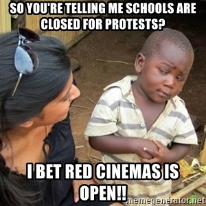 Skeptical 3rd World Kid - So you're telling me schools are closed for protests?  I bet Red Cinemas is open!!