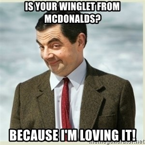 MR bean - IS YOUR WINGLET FROM MCDONALDS? BECAUSE I'M LOVING IT!