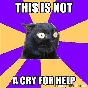Anxiety Cat - THIS IS NOT  A CRY FOR HELP
