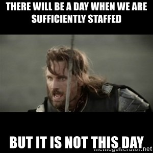 But it is not this Day ARAGORN - THERE WILL BE A DAY WHEN WE ARE SUFFICIENTLY STAFFED  BUT IT IS NOT THIS DAY