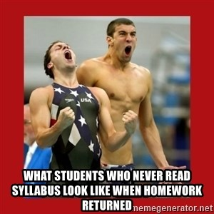 Ecstatic Michael Phelps - What students who never read syllabus look like when homework returned