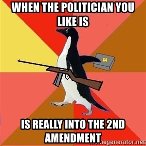 Socially Fed Up Penguin - when the politician you like is  is really into the 2nd amendment