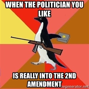 Socially Fed Up Penguin - when the politician you like   is really into the 2nd amendment