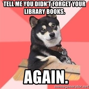 Cool Dog - Tell me you didn't forget your library books.  Again.