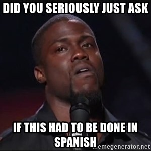 Kevin Hart Face - Did you seriously just ask if this had to be done in Spanish