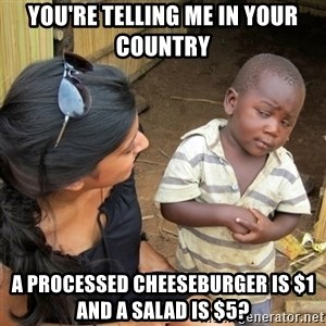 skeptical black kid - You're telling me in your country a processed cheeseburger is $1 and a salad is $5?