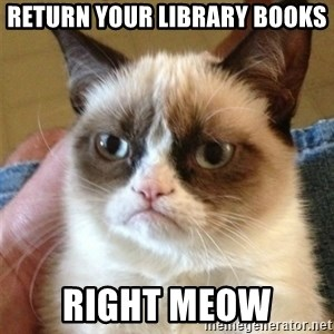 Grumpy Cat  - Return Your Library Books Right Meow