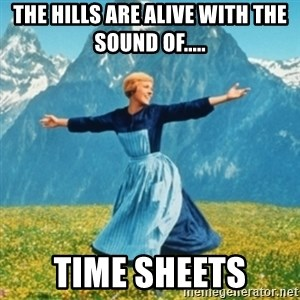 Sound Of Music Lady - The hills are alive with the sound of..... TIME SHEETS