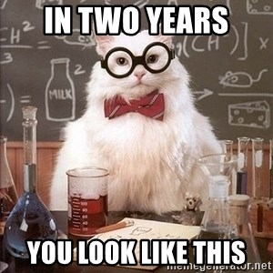 Chemistry Cat - In two years  you look like this