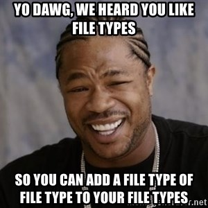 xzibit-yo-dawg - yo dawg, we heard you like file types so you can add a file type of file type to your file types