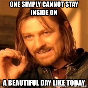 One Does Not Simply - One Simply Cannot Stay Inside On A Beautiful Day like Today