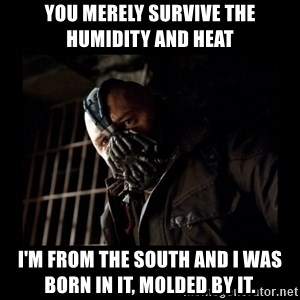 Bane Meme - YOU MERELY SURVIVE THE HUMIDITY AND HEAT I'M FROM THE SOUTH AND I WAS BORN IN IT, MOLDED BY IT.