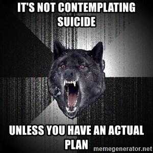 Insanity Wolf - it's not contemplating suicide unless you have an actual plan